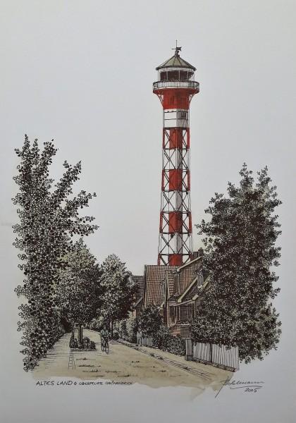 """Handkolorierter Kunstdruck """"Altes Land - Oberfeuer Grünendeich"""""""