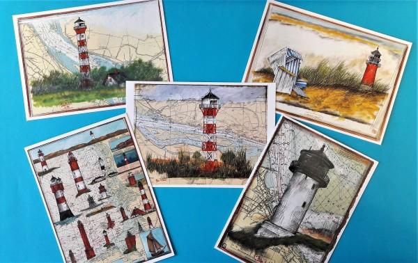 "Postkarten Set - Ole West ""Leuchttürme"""